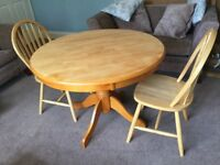 Solid Pine Round Table & 2 Pine Chairs - Dismantled Height 29in/74cm Dia 41.5in/105cm