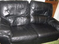 2 seater and 3 seater recliner black flux leather sofa.