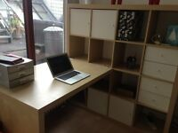 GOOD AS NEW IKEA DESK AND BOOK SHELF WITH DRAWERS AND CUPBOARDS - DESK CAN BE DETACHED