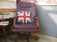 Stunning Brown Leather Chesterfield Captains Chair