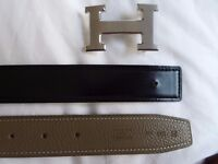 Hermes Brushed Steel H reversible black/taupe belt size 100cm