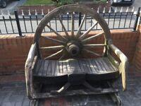 Lovely Reclaimed Oak wagon wheel Bench