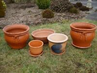 Terracotta Pots / Garden Planters set of 5 with Saucer/Planter Dish
