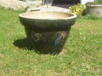 Nice Large Green Ceramic Garden Planter Garden Pot with Fruit Detail 26cm Tall