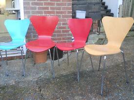 COLOURED SEAT CHROME LEG CHAIRS
