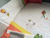 Mamas and papas cot bedding quilt and bumper with curtains and tie backs