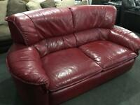 🎅 red leather 2 seater sofa