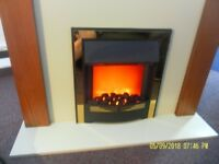 Penshaw Be Modern Electric Fire Surround , Oak Effect with cream back and hearth ,