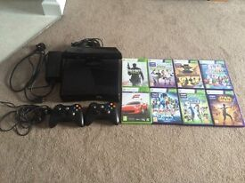 XBOX 360 250gb with Kinect, 2 controllers and 8 games