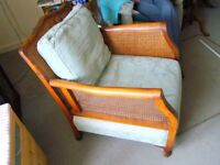 Bergere armchair(s), cane back and sides