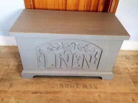 Shabby Chic Refurbished Solid Pine Storage Chest,Blanket Box Bench Ottoman Painted Paris Grey