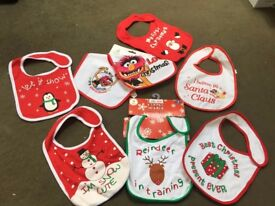 BUNDLE OF 8 NEW BABY BIBS FIRST XMAS DINNER GIFT PRESENT 1ST COTTON COMFORTABLE FREE DELIVERY / POST