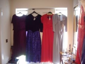 4 Stylish Evening Dresses, sizes 12, 14 in great order