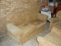 3 piece suite. Gold coloured cloth, settee = 210 X 90 X 100 cm height. Bought 2002, some cat damage