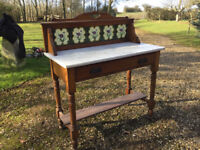 Marble Top Wash Stand with Vintage Tiles, on Wheels