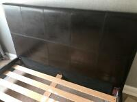 Faux Leather Dark Brown Bed Frame
