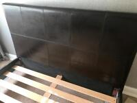 Double Bed, Faux Dark Brown leather Bed Frame