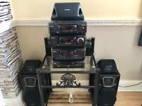 TECHNICS BLACK, 5 DISC CHANGER Hi Fi, SURROUND-SOUND SYSTEM, WITH 5 SPEAKERS..
