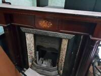 Fireplace- wooden surround and victorian cast iron insert