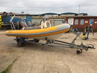 Ribcraft 5.3 with Suzuki DF90 boat on trailer