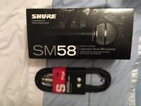 Shure SM58-LCE microphone - brand new in box, and 3M Stagg XLR to jack lead