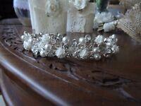 silver , pearl/diamonte and white flower tiara