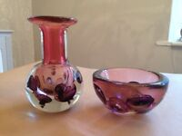 Czech Glass Vase and Bowl