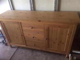 Pine sideboard , office desk, and top storage box nearly new