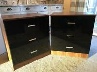 Black high gloss bedside cabinets x2