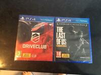 Brand new in packet The Last of Us Remastered & Drive Club