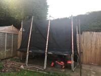 Large rectangle trampoline and enclosure