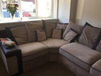 Corner sofa, mocha and black in colour, very good condition need to sell quickly