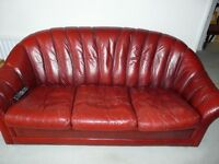 Free for collection 3 piece leather sofa and 2 chairs in good condition.