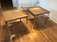 Set of two chrome and wood side tables
