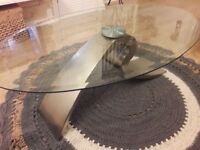 Glass elegant coffee table and side table