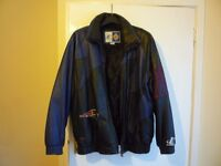 New England Patriots American Soccer Leather Team Jacket, Size Medium.