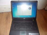 acer intel 2.16 2gb ram 160gb hardrive wifi dvd-writer 15.4 screen windows 7