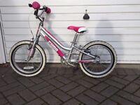 Girls Bike 16 Inch Wheels Silver and Pink
