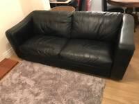 Black leather sofa 3 seater