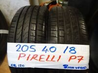 MATCHING PAIR OF 205 40 18 PIRELLI P7 CINTURATOS ONLY DONE 500 MILES 8MM TREAD £100 PAIR SUPP & FITD