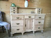 Antique rustic solid pine sideboard dresser dressing table cupboard