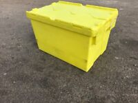 5x HEAVY DUTY PLASTIC STORAGE BOXES