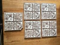 5 Antique Victorian unused 6 inch x 6 inch tiles. Brown nature theme on white background
