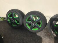 For sale set of 4 Alloy Wheels and tyres 215/55/R17