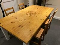 Table and chairs solid pine