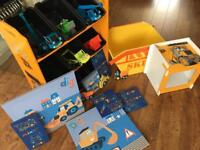 BOYS DIGGER BEDROOM TOY STORAGE