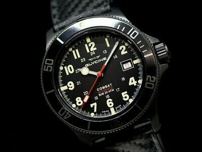 RARE DRILLED CASE GLYCINE 42MM COMBAT SUB SWISS AUTO SAPPHIRE DIVER WATCH GL0244