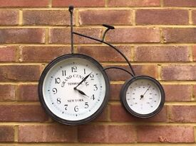 Penny Farthing Garden Clock and Thermometer