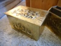 vintage brass log coal box