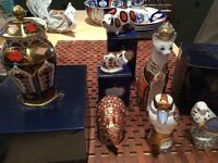 Vintage Royal Crown Derby Animal Paperweights Imari Ginger Jar Cat Kookaburra Budgerigar Arm